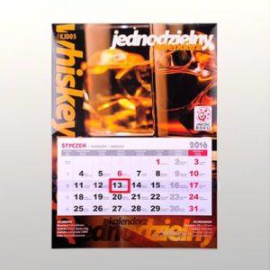 Kalendarz ścienny jednodzielny klejony kalendarium 3 m-c