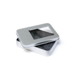 Metalowe pudełko z okienkiem