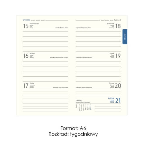 Kalendarze ksiązkowe A6 tygodniowe
