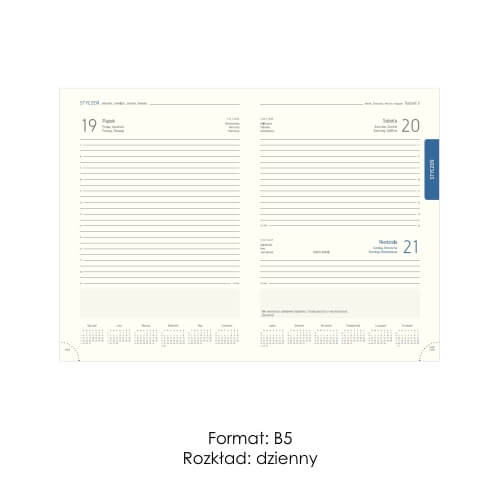Kalendarze ksiązkowe B5 dzienne