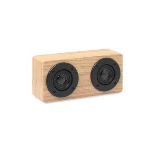 Drewniany głośnik z logo firmy