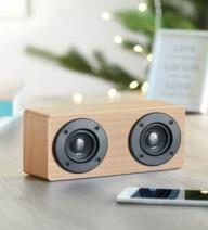 głośniki drewniane z nadrukiem