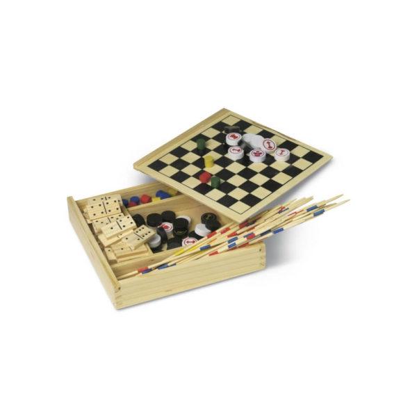 Zestaw gier w drewnianym pudełku z logo