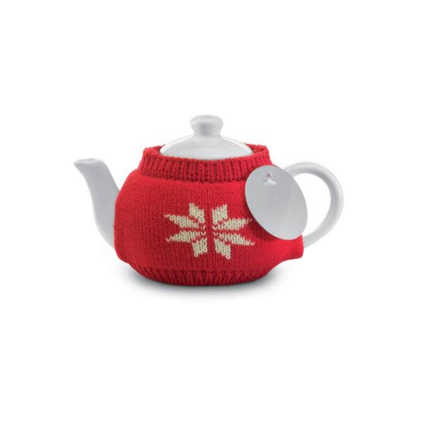 Ceramiczny dzbanek do herbaty w ubranku