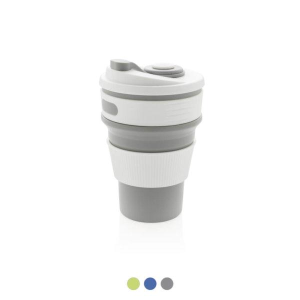 Składany kubek silikonowy z nadrukiem logo filirmy