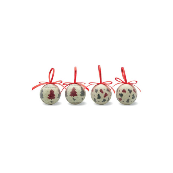 Zestaw 4 bombek świątecznych