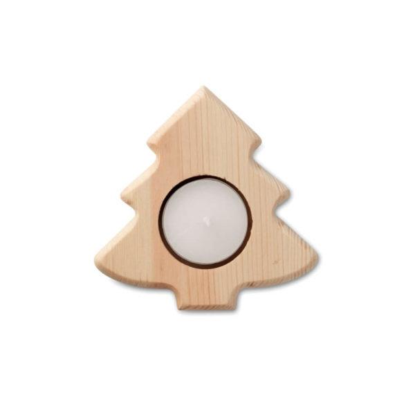 Drewniany świecznik choinka