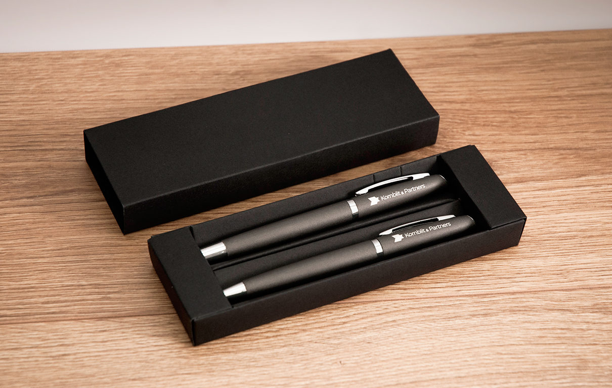Zestaw pióro i długopis z logo