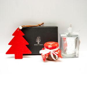 Zestaw świąteczny podstawka pod telefon i miód z logo NOPD04
